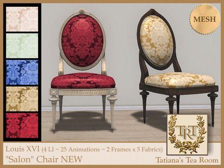 """TTR-Louis XVI """"Salon"""" Chair NEW   #SecondLife"""