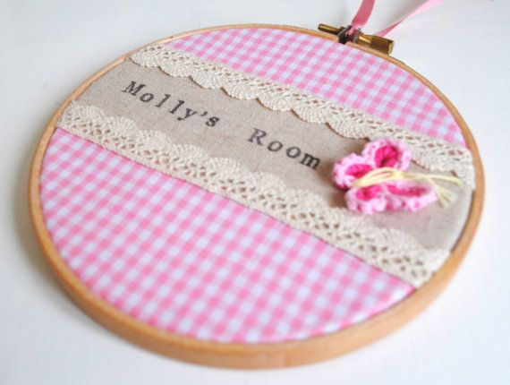 Custom Personalised Girls Bedroom Room Name Sign, Pink Gingham Lace & Crochet Butterfly, Embroidery Hoop Art, Kids Room, Baby Nursery Decor