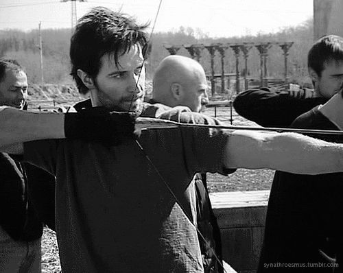 Richard practicing his archery skills (with Joe Armstrong and Jonas Armstrong) ~ richard armitage | Tumblr