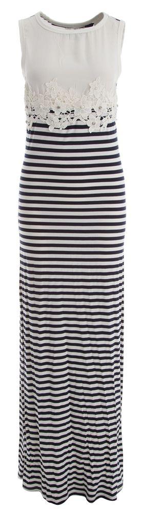 Wit blauw gestreept lang kleed fracomina online bij Deleye.be & BeKult
