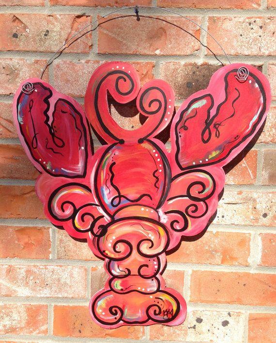 Wooden crawfish door hanger