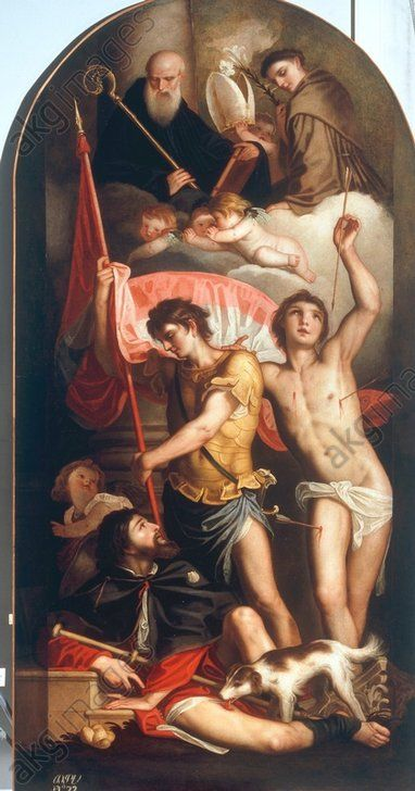 Der Heilige Georg mit den Heiligen Rochus und Sebastian; au