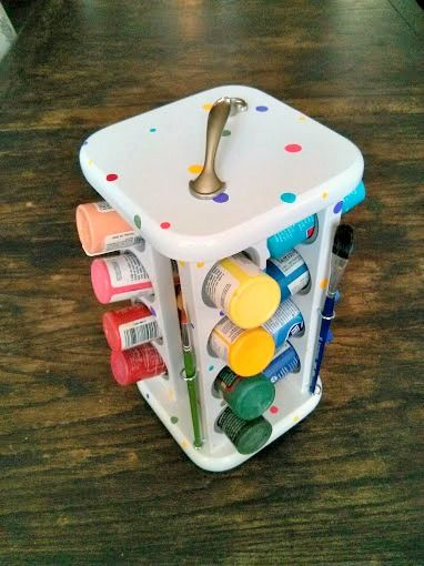 Turn an old spice rack into a paint caddy!