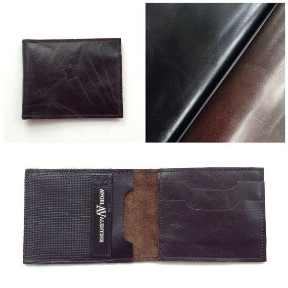 Mens super skinny leather wallet // slim handmade gift by AngelaValentineBags $35