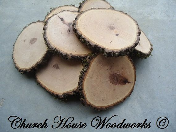 "10 qty  5"" hickory wood slices, rustic coasters, tree coasters, decoration,  rustic weddings, rustic wedding coasters"""