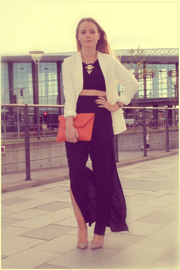 Cropped top and wide pants