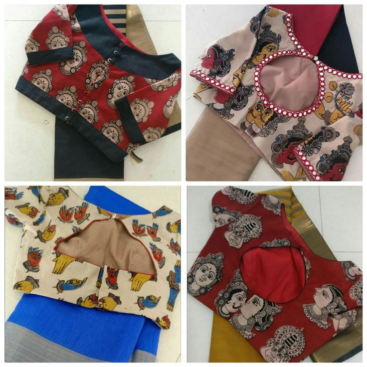 Pretty KALAMKARI BLOUSES with gorgeous silk blend sarees,Very trendy outfits!!!!!!!