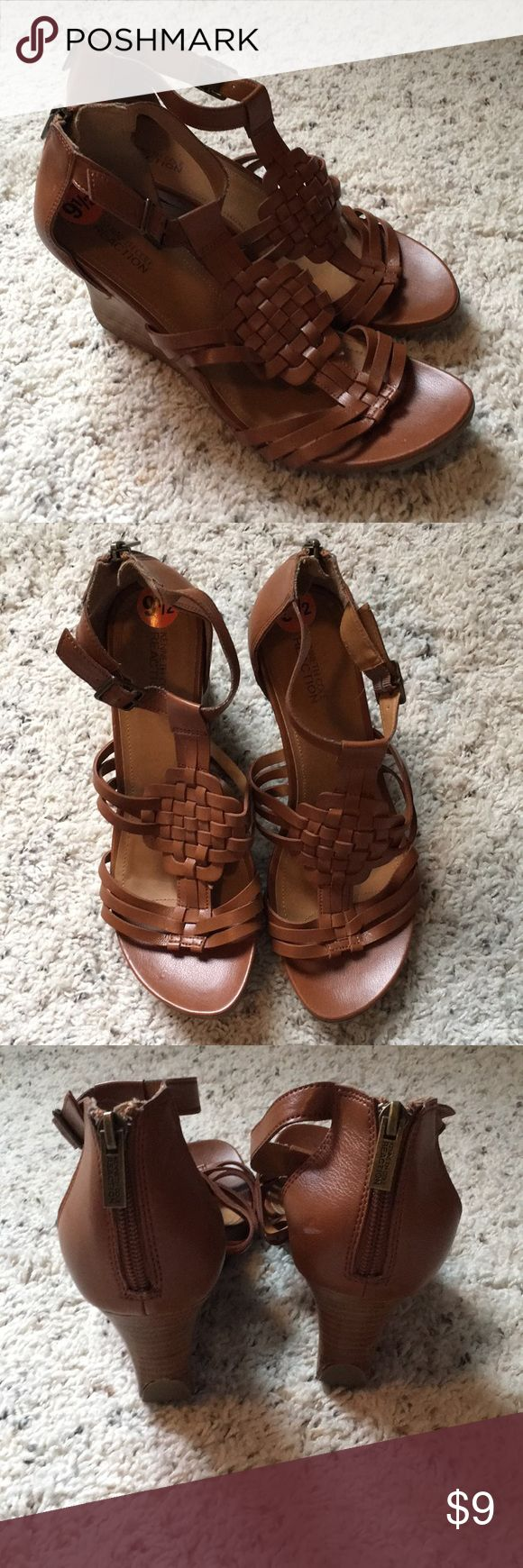 Kenneth Cole reaction sandals Brownish tan wedge sandals. Zip up the back and have buckle for adjustment. Gently used in good condition Kenneth Cole Reaction Shoes Sandals