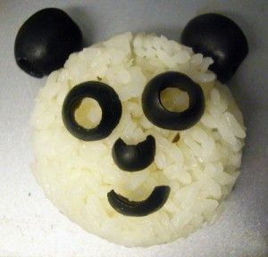 Panda de Arroz con aceitunas #comida #creativa
