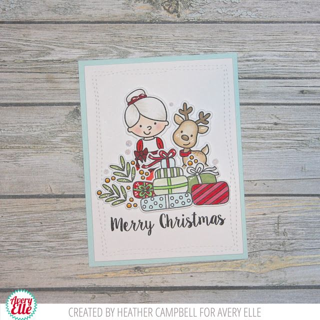 Heather Campbell for Avery Elle Christmas Packages clear stamps & dies North Pole Pals clear stamps & dies Wonky Stitches Dies