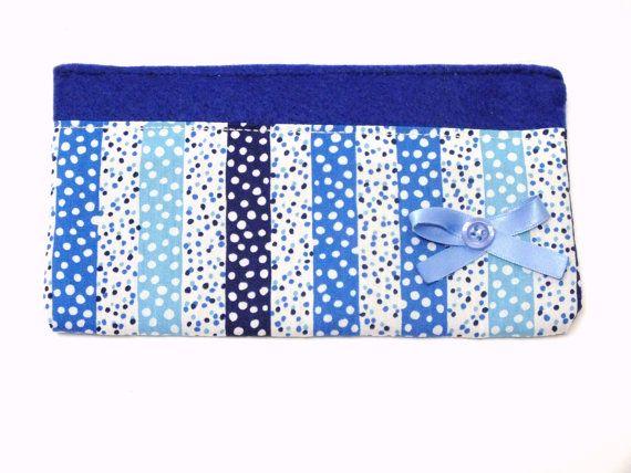 Blue dots zipper pouch Blue Felt and fabric purse Blue