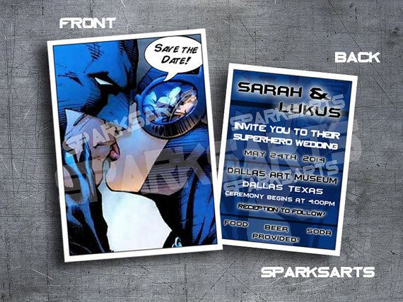 Batman Superhero Wedding Catwoman Invitation Printable Save The Date By  SparksArts,