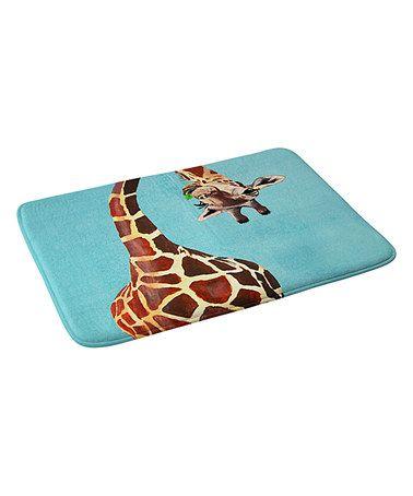 Love this Coco De Paris Giraffe With Green Leaf Memory Foam Bath Mat!