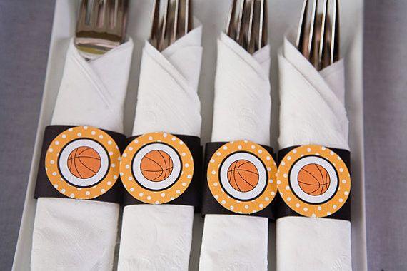 Basketball Napkin Rings Birthday Party - Black & Orange