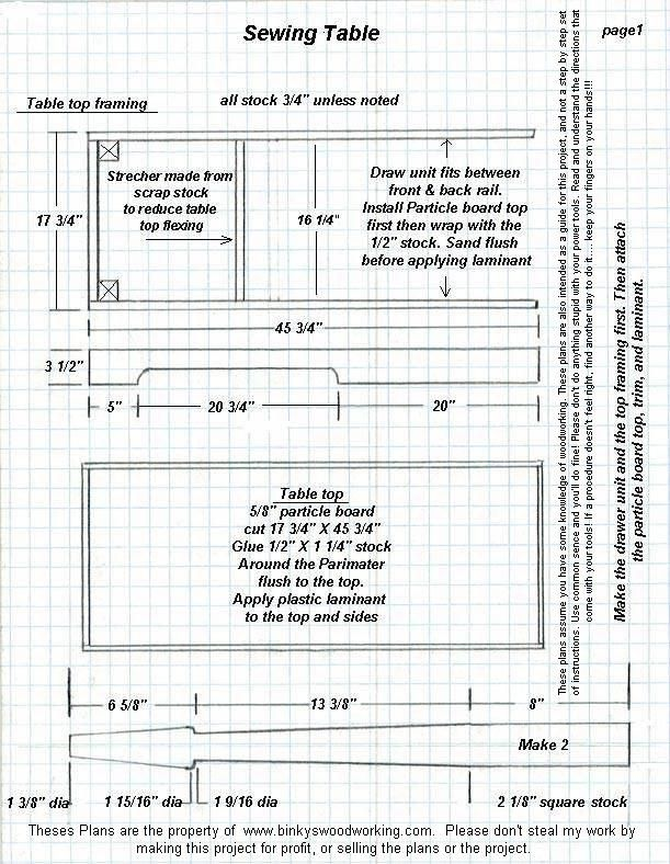 sewing machine table plans free