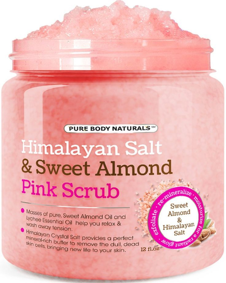 Body Scrub with Himalayan Salt, Deep Cleansing Exfoliator With Sweet Almond Oil & Lychee Oil