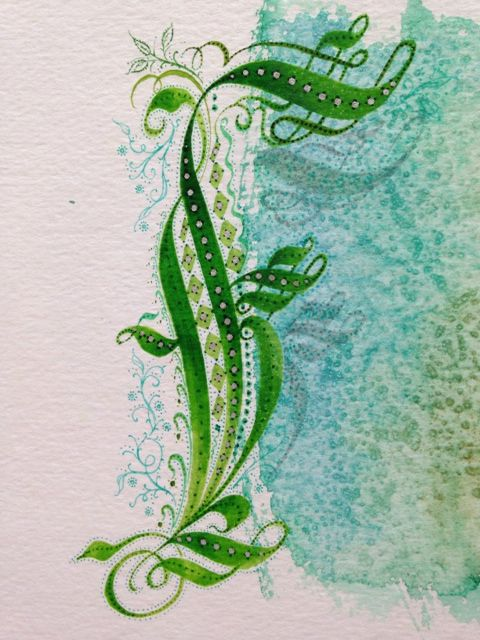 Watercolor sketch for Series 2 Calligraphy of French Cadel inspired Capitals, 2014.
