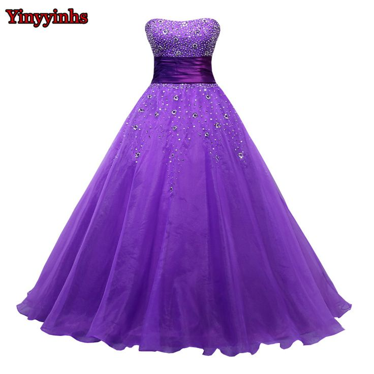 >> Click to Buy << Yinyyinhs Purple Crystals Evening Gown Strapless Organza Corset Lace Up Back Formal Prom Dresses Women's Pageant Dress CG336 #Affiliate