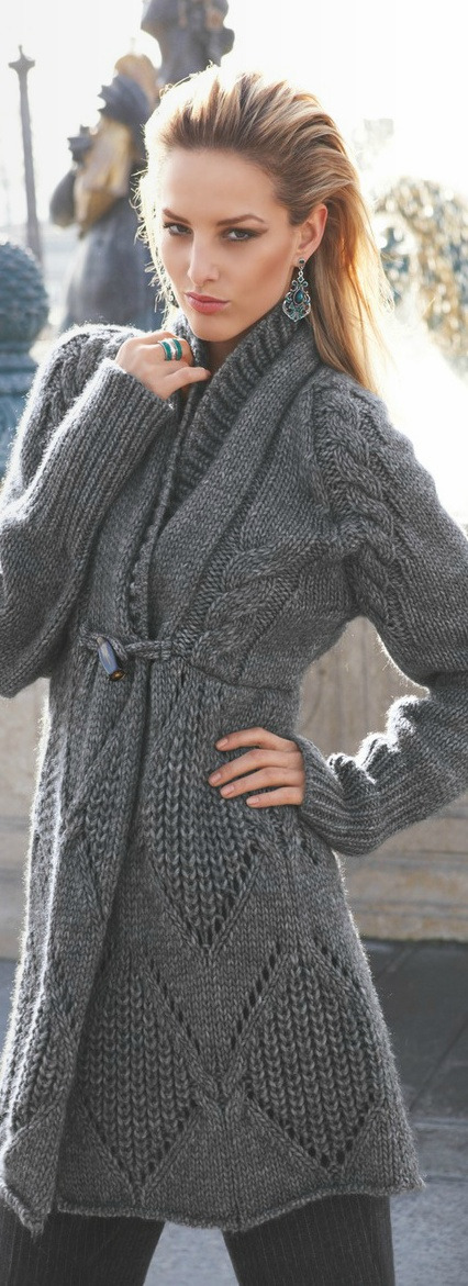 chic grey knit sweater ~ Inspiration ~  but this is lovely and probably a number of patterns that this could be adapted to.