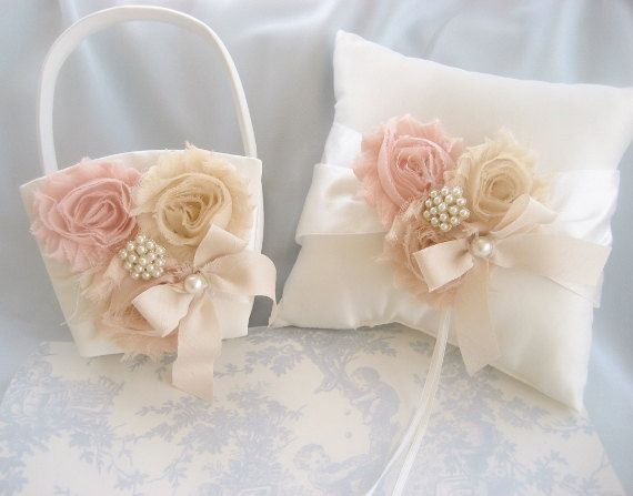 Wedding Pillow and Basket -  Peach Rose Blossom Ivory Ring Bearer Pillow, Flower Girl Basket Vintage CUSTOM COLORS  too Wedding Pillow on Etsy, $45.00