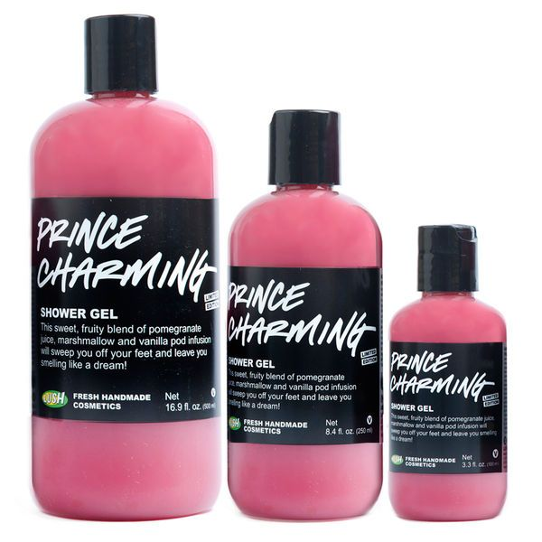 Prince Charming Lush Shower Gel | Get cozy with our limited edition Valentine's Day body wash! Just like its namesake, this pretty pink gel has everything you've been dreaming of: an intoxicating fruity perfume, skin-softening oils and a gentle touch. Get in a lather and luxuriate in the indulgent blend of fresh pomegranate juice, Fair Trade vanilla pod infusion and almond oil. You'll emerge with royally soft, beautifully moisturized skin—it's almost too good to be true!