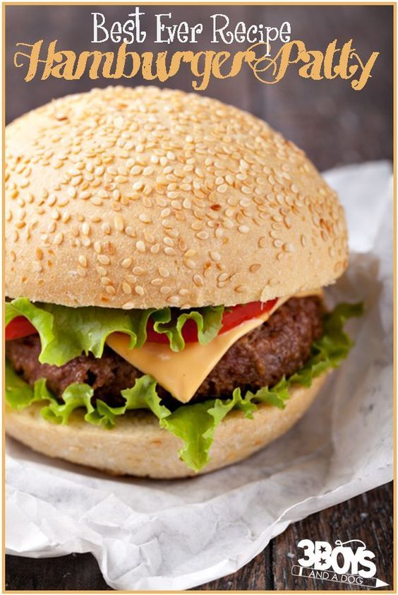 The Best Ever Hamburger Patty Recipe - full of juices, bacon, and cheesy goodness!  No, it isn't exactly a healthy dinner, but it is still so much better for you than fast food - and tastes a million times better!  Bring on the beef!!