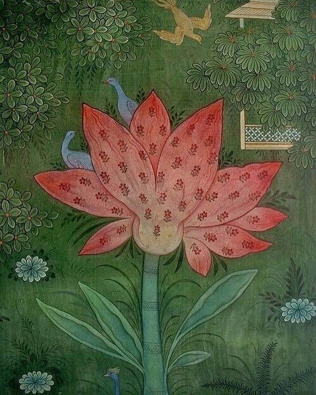 An Intricate Mughal Painting Of A Lotus Flower Which Symbolizes