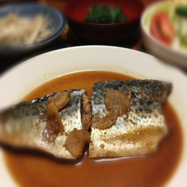 久しぶりに鯖味噌煮を作る。 - 9件のもぐもぐ - 鯖味噌煮、ゴボウごまマヨネーズあえ、たたきモロヘイヤ、レタスのサラダ。 by raku_dar