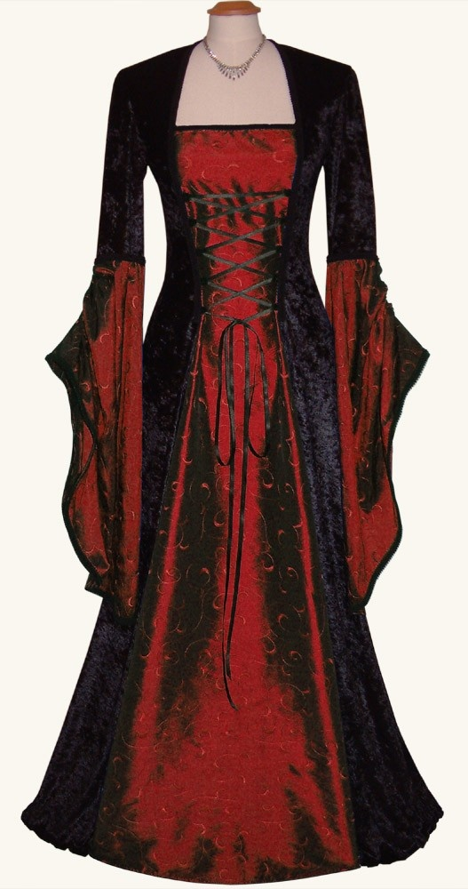 Gothic Medieval Inspired Gown Sizes XS-XXL Made to order and 4 colours available. €180.00, via Etsy.