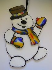 Handmade 3D Frosty the Snowman Stained Glass Suncatcher Christmas