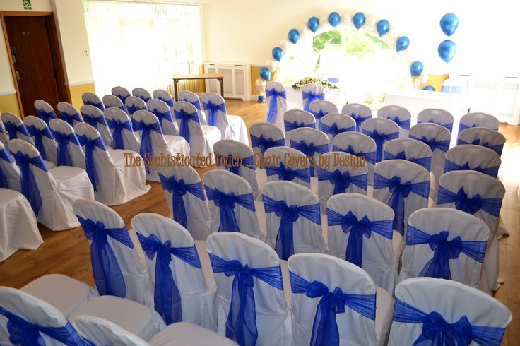 Royal Blue Organza on White Chair Covers   The Sophisticated Touch ...Chair Covers by Design
