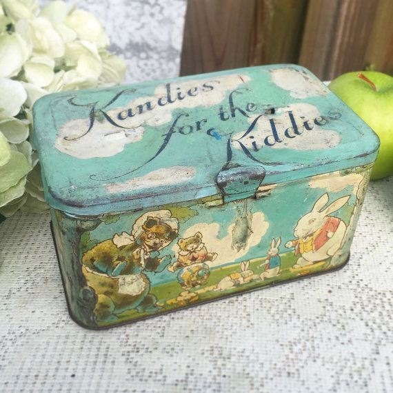 Adorable Antique Bunny Frog Decorative Tin litho box Easter decor lunch pail Tindeco Kandies for Kiddies Nursery décor vanity trinket by WonderCabinetArts