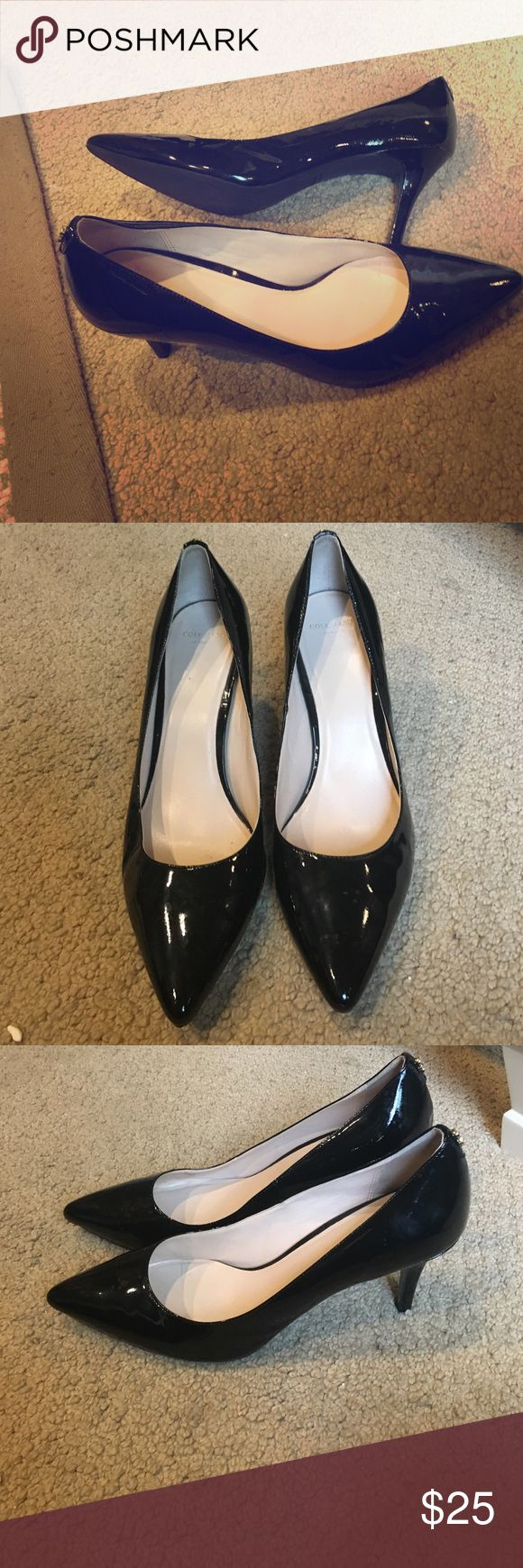 "Cole Hann Black Patent Leather Pumps Super cute Cole Haan black heels. Probably about 3"". Maybe worn 1-2 times max. In perfect condition. Cute little gold piece on the back of the heel. Very classy and go with everything. Cole Haan Shoes Heels"