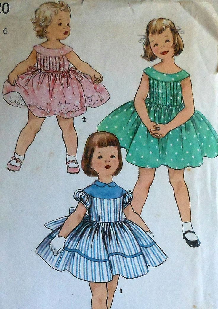Vintage 50s Little Girls Summer Party Dress Sewing Pattern