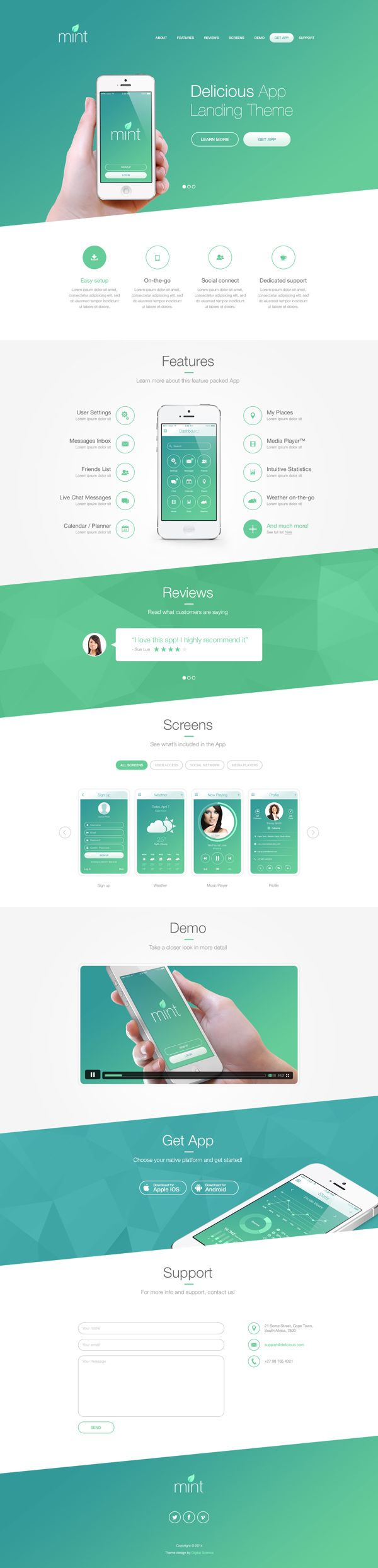 Delicious App Landing Theme by Pierre Marais via Behance