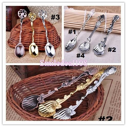 Online Cheap Vintage Alloy Shells Coffee Spoon Crown Palace Carved Tea Ice Cream Scoop Dessert Spoons Cutlery 4styles By Smiledeal108 | Dhgate.Com