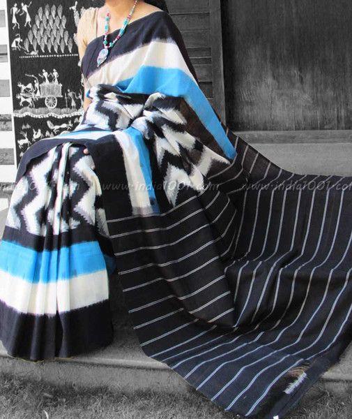 Designer Woven Ikkat Cotton Saree
