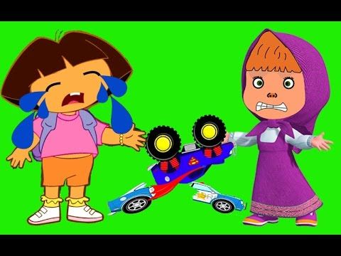 Masha And Dora Crying Crashed His Car Finger Family Rhyme For Kids | Dor...
