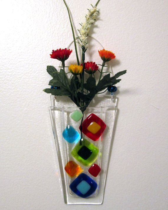 Fused Glass Wall Vase Fused Glass Flower Vase Wall by Shakufdesign