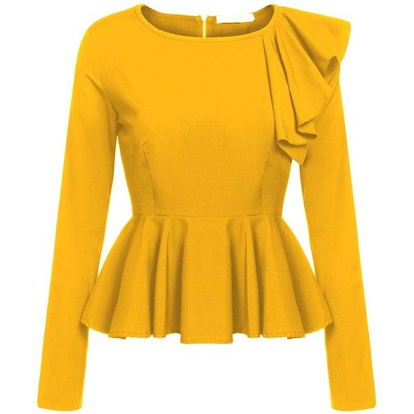 Meaneor Women's Ruffles Peplum Long Sleeve Dressy Blouse Tops ($17) ❤ liked on Polyvore featuring tops, blouses, peplum shirt, yellow button up shirt, dressy blouses, long-sleeve shirt and long-sleeve peplum tops