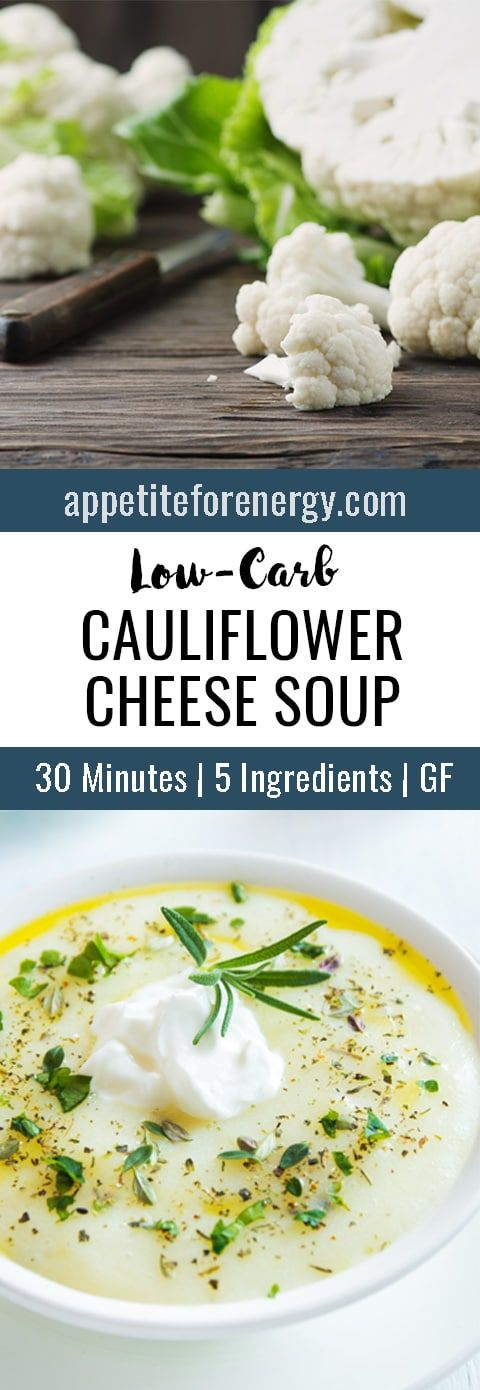 This delicious low-carb cauliflower cheese soup uses only 5 ingredients and will be on your table in 30 minutes. Perfect for busy weeknights with 10g of net carbs. FOLLOW us for more 30 Minute Recipes. PIN & CLICK through to get the recipe! cauliflower soup  |Low-carb diet soup |ketogenic diet |keto diet recipes |keto soup| gluten free soup recipe|Low carb dinner recipe| 5 ingredient soup #Ketosoup #LowCarbSoupRecipes #KetogenicSoupRecipes #CauliflowerSoup  via @appetitefornrg