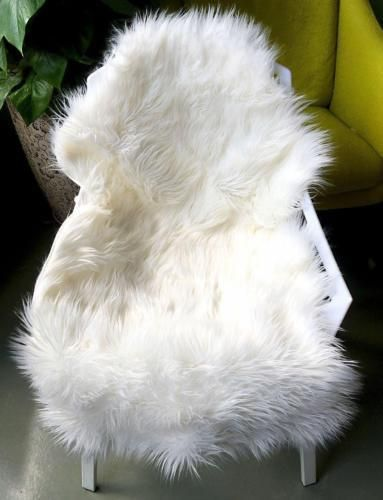 OJIA Deluxe Soft Faux Sheepskin Chair Cover Seat Pad Plain Shaggy Area Rugs...  #Ojia