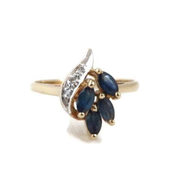 Sapphire Diamond Ring Vintage 10k Yellow Gold Marquise Etsy Sapphire Diamond Ring Vintage Vintage Sapphire Ring Vintage Sapphire