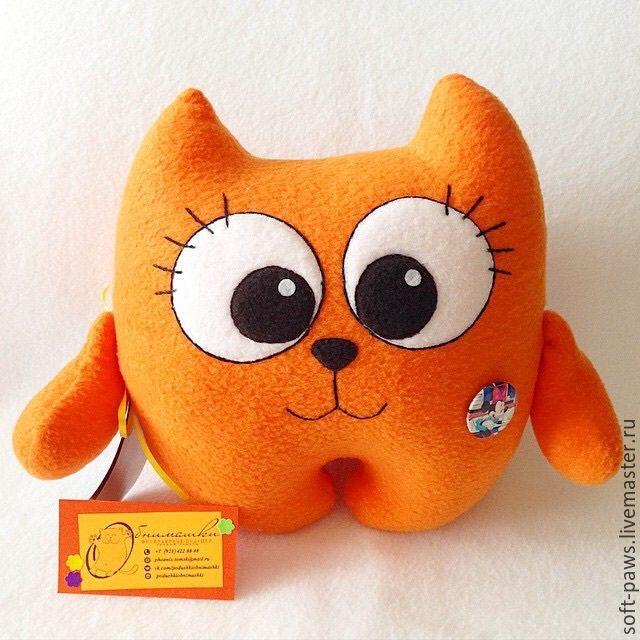 Купить Котенок, игрушка-обнимашка - рыжий, кот, котик, котенок, игрушка, подушка-игрушка, подарок