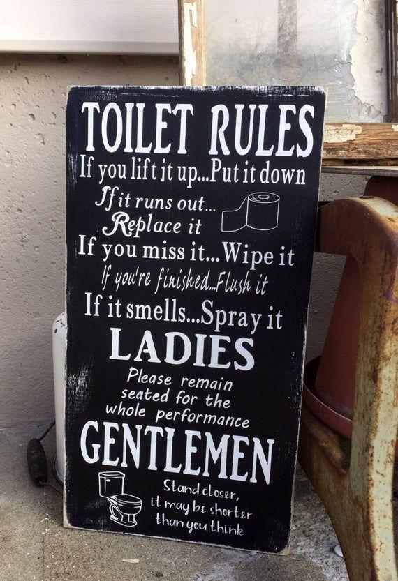 Toilet Rules Wooden Sign Bathroom Wall Art Funny Bathroom Sign Bathroom Rules Bathroom Humor Rustic Home Decor Painted Wooden Sign Con Imagenes Remodelacion De Banos Carteles De Bano Humor De Bano