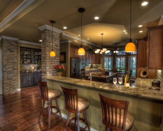 Wood floors granite countertops breakfast bar pendant Breakfast bar lighting ideas