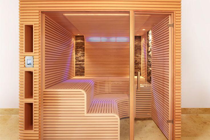 sauna mit schmalen leisten und zwei steinstreifen erdmann. Black Bedroom Furniture Sets. Home Design Ideas