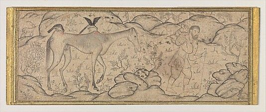 An Emaciated Horse Led by His Master Date: late 16th century Geography: Iran Medium: Ink and watercolor on paper Dimensions: H. 2 1/8 in. (5.4 cm) W. 5 3/8 in. (13.7 cm) Metropolitan Museum of Art 45.174.11