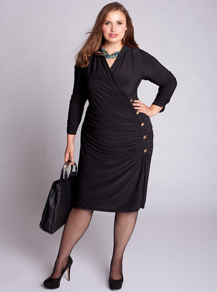 Curvy Woman Black Dress and Black High Heels |   ...