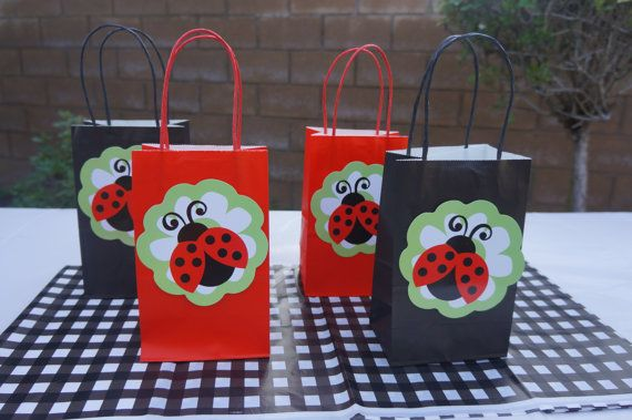 Ladybug Red Plastic Loot Bags Candy Favor Birthday Party
